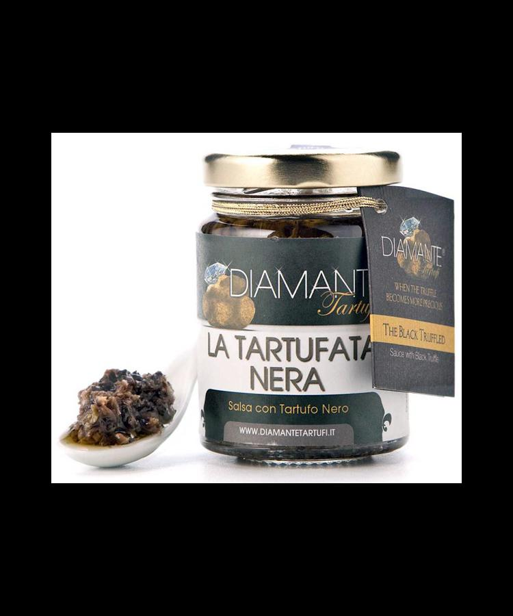 LA TARTUFATA NERA 80 Gr - The Black Truffled 2,82 Oz (Black Truffle, Mushrooms and Green Olives) - Naturale e Genuina